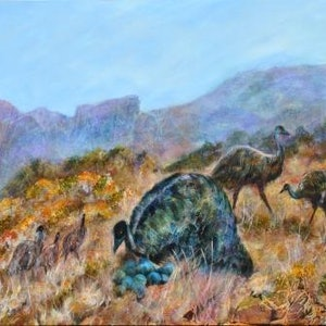 (CreativeWork) Mountain Plains Emu's by Colleen Clark. arcylic-painting. Shop online at Bluethumb.