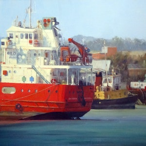 (CreativeWork) On the Tamar by Mary Hyde. oil-painting. Shop online at Bluethumb.