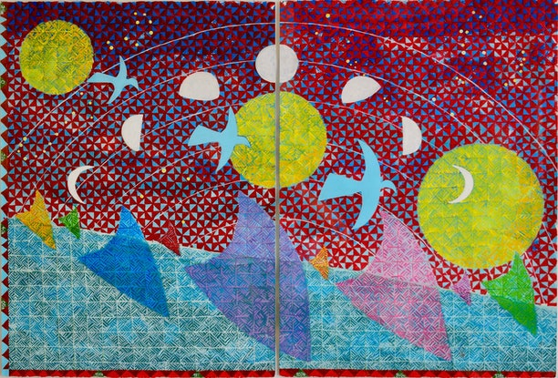 (CreativeWork) Oceanic Wayfinders: First Explorers of the Pacific Ocean  by Telly Tuita. Mixed Media. Shop online at Bluethumb.