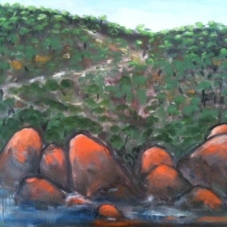 (CreativeWork) Red Rock's at Wilson's Prom by Helena Cargill. Oil Paint. Shop online at Bluethumb.