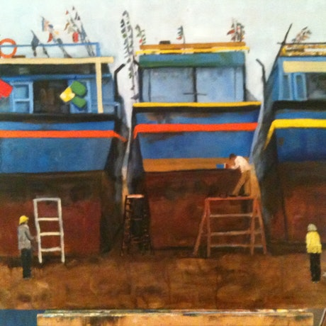 (CreativeWork) Blue Boats in Dry Dock by Helena Cargill. Oil Paint. Shop online at Bluethumb.