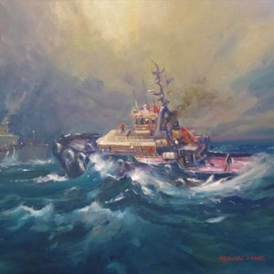 (CreativeWork) Keera In A Heavy Sea by Maxwell Wilks. oil-painting. Shop online at Bluethumb.