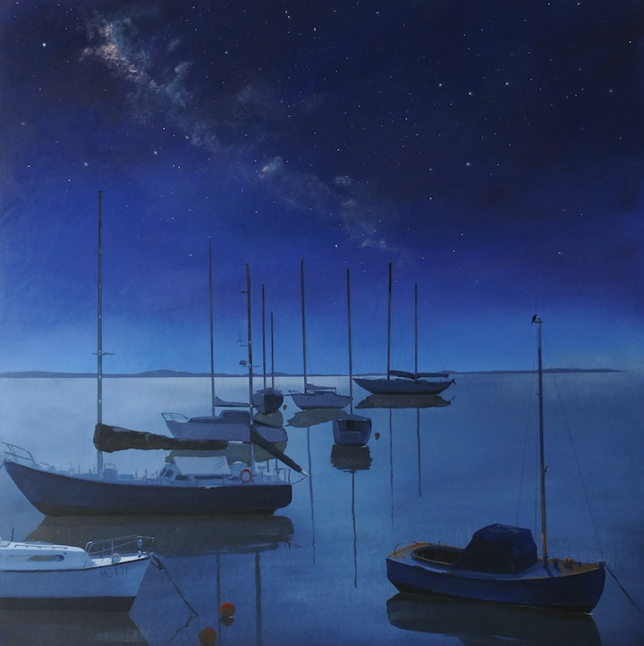 (CreativeWork) Under the Milky Way by Jill Rogers. arcylic-painting. Shop online at Bluethumb.