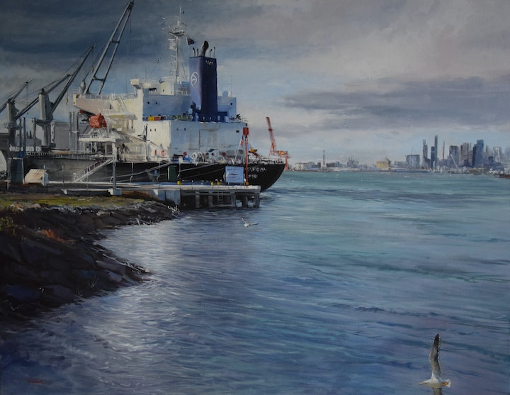 (CreativeWork) Supply and Demand - unloading at Port Melbourne  by Ben Winspear. oil-painting. Shop online at Bluethumb.
