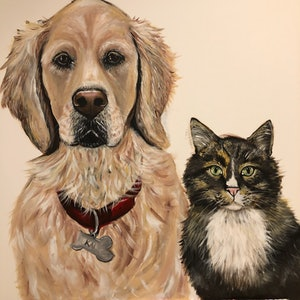 (CreativeWork) Best Friends  by Lisa Carman. arcylic-painting. Shop online at Bluethumb.