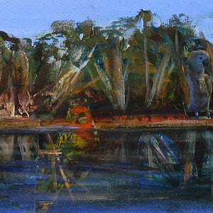 (CreativeWork) Katarapko Creek, Murray River by Roland Weight. mixed-media. Shop online at Bluethumb.