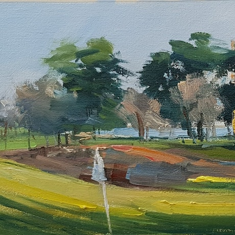 (CreativeWork) Last light on the 9th hole. by Ben Winspear. Oil Paint. Shop online at Bluethumb.