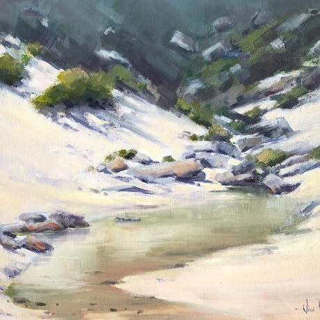 (CreativeWork) Mt Oberon reflections by Vivi Palegeorge. Oil Paint. Shop online at Bluethumb.