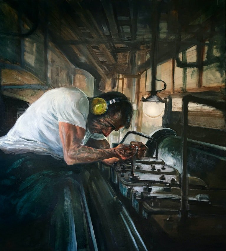 (CreativeWork) Naval Mechanic by David Rowe. Oil Paint. Shop online at Bluethumb.