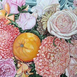 (CreativeWork) A LIFE TIME BLESSING - Orange And Chrysanthemum - LIMITED EDITION GICLEE PRINT  Ed. 1 of 100 by HSIN LIN. Print. Shop online at Bluethumb.