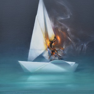 (CreativeWork) Set sail by Tom O'Callaghan. oil-painting. Shop online at Bluethumb.