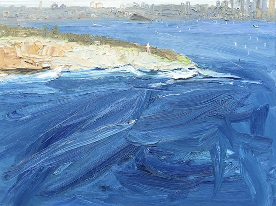 (CreativeWork) Ferry To The City-Plein Air by David K Wiggs. Oil Paint. Shop online at Bluethumb.
