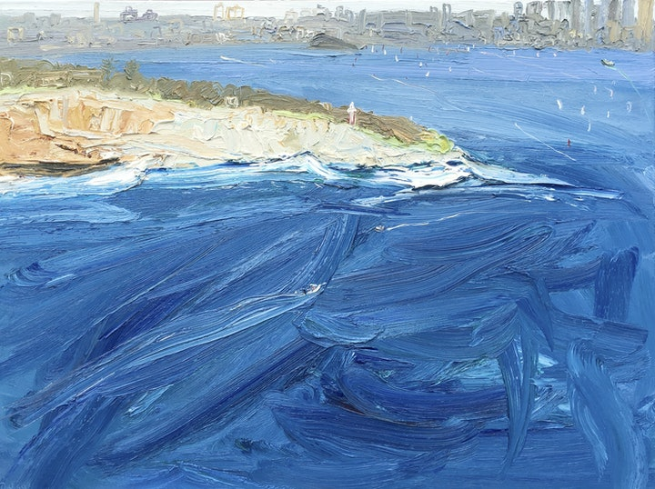 (CreativeWork) Ferry To The City-Plein Air by David K Wiggs. oil-painting. Shop online at Bluethumb.