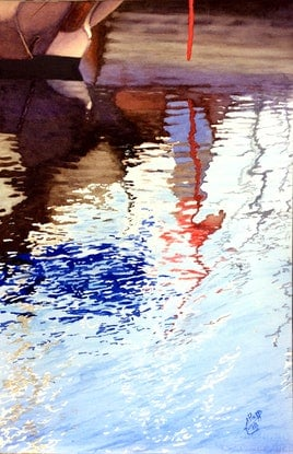 (CreativeWork) Marina reflections 4 by Abramo Papp. Watercolour Paint. Shop online at Bluethumb.