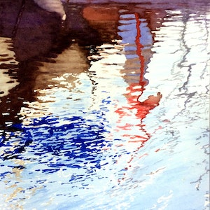(CreativeWork) Marina reflections 4 by Abramo Papp. watercolour. Shop online at Bluethumb.