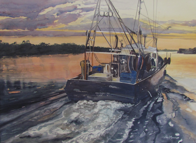 (CreativeWork) Heading into the Night,  Lakes Entrance by Jan Martin. Watercolour Paint. Shop online at Bluethumb.