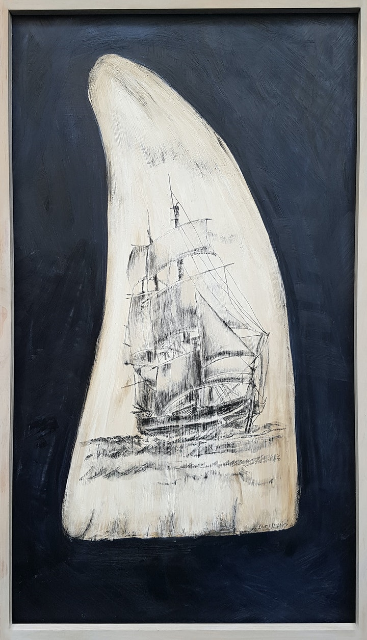 (CreativeWork) Scrimshaw I by Laurie Franklin. mixed-media. Shop online at Bluethumb.