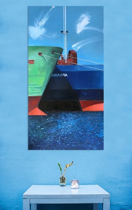 (CreativeWork) Titans of the ocean by Trevor Salisbury. Oil Paint. Shop online at Bluethumb.
