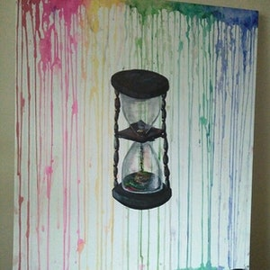 """(CreativeWork) """"Time's Up""""- 1 of 3  from Colourbleed on White Collection by K.A. Oakley. acrylic-painting. Shop online at Bluethumb."""