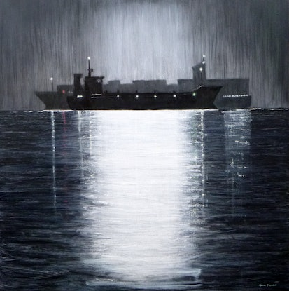 (CreativeWork) Jane Flowers Ships That Pass In The Night by Jane Flowers. Oil Paint. Shop online at Bluethumb.
