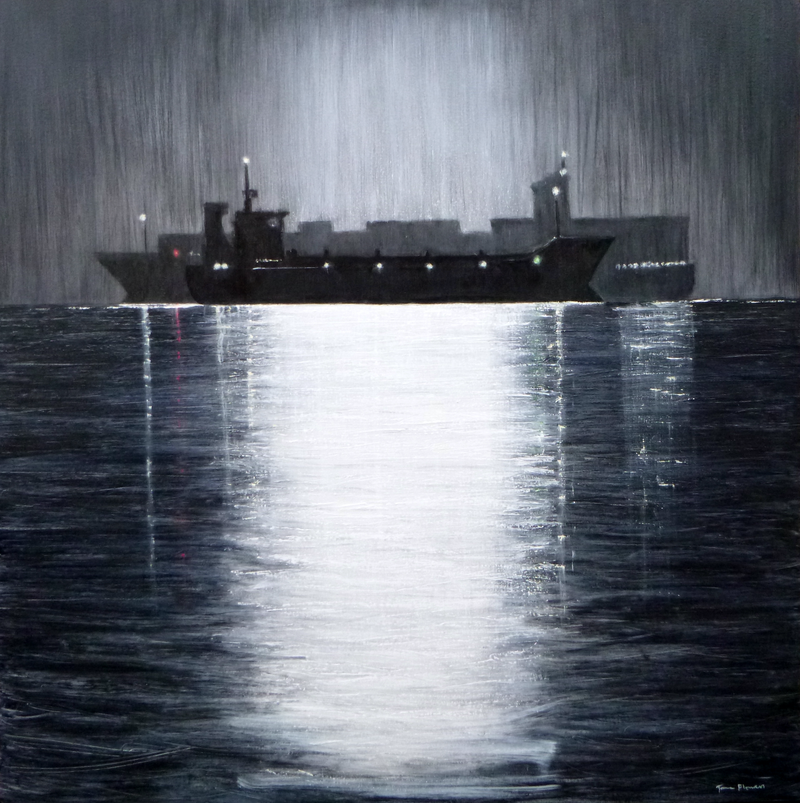 (CreativeWork) Jane Flowers Ships That Pass In The Night by Jane Flowers. oil-painting. Shop online at Bluethumb.
