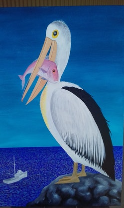 (CreativeWork) Catch of the Day by Peter Petruzzella. Acrylic Paint. Shop online at Bluethumb.