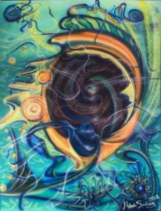 (CreativeWork) Ocean Seed by Melanie Spurling. Acrylic Paint. Shop online at Bluethumb.