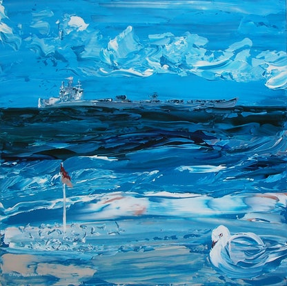 (CreativeWork) Newcastle Foreshore by Angelique Wavés. Acrylic Paint. Shop online at Bluethumb.