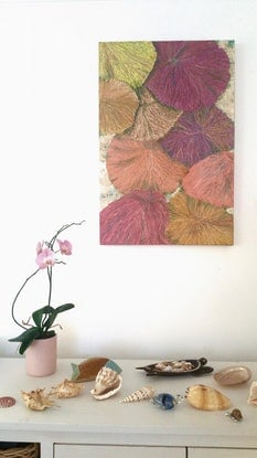 (CreativeWork) Funky Fungia by Maureen Riggs. Mixed Media. Shop online at Bluethumb.