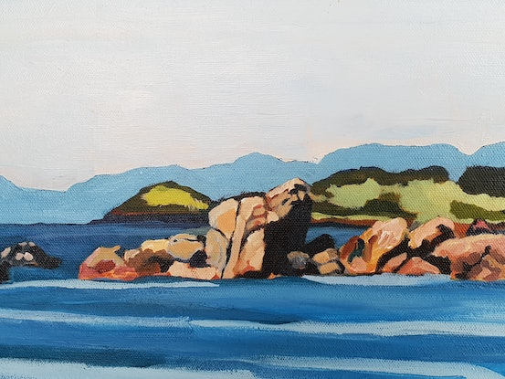 (CreativeWork) The view from Penguin Beach by David Foster. Acrylic Paint. Shop online at Bluethumb.
