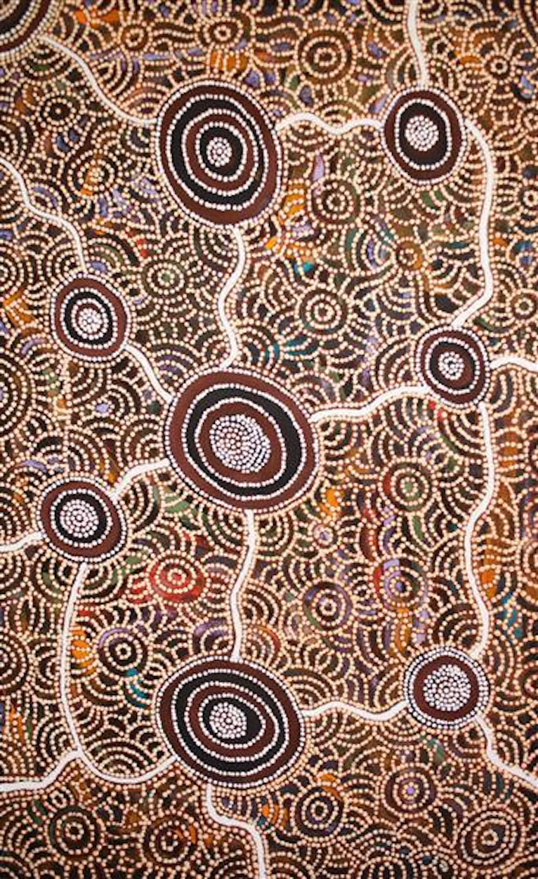 (CreativeWork) Rockholes & Spinifex (18-124) by Narelle Holland. arcylic-painting. Shop online at Bluethumb.