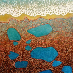 (CreativeWork) Earth meets Water by Wayne Smith. arcylic-painting. Shop online at Bluethumb.