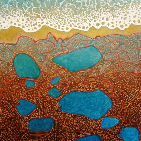 (CreativeWork) Earth meets Water by Wayne Smith. Acrylic Paint. Shop online at Bluethumb.