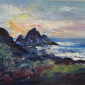 (CreativeWork) Sugarloaf Sunset by Jeanette Giroud. oil-painting. Shop online at Bluethumb.