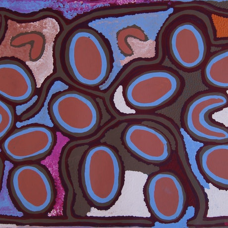 (CreativeWork) Stone (Pirli Miya-Miya) Dreaming by Molly Napurrurla Tasman. Acrylic Paint. Shop online at Bluethumb.