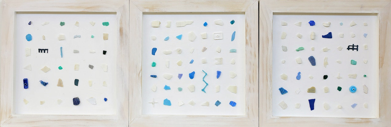 (CreativeWork) Decoding the Sea tryptitch by rachel peters. Mixed Media. Shop online at Bluethumb.