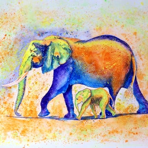 (CreativeWork) Elephant and baby by Jing Tian. watercolour. Shop online at Bluethumb.