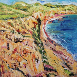 (CreativeWork) SELLICKS BEACH, SOUTH AUSTRALIA by Maureen Finck. oil-painting. Shop online at Bluethumb.