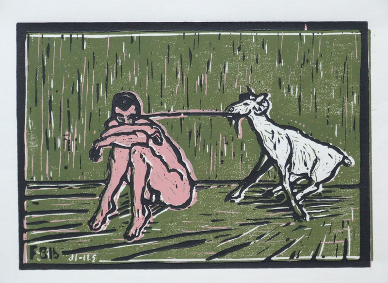 (CreativeWork) Man with Goat Ed. 1 of 4 by Frank Burgers. print. Shop online at Bluethumb.