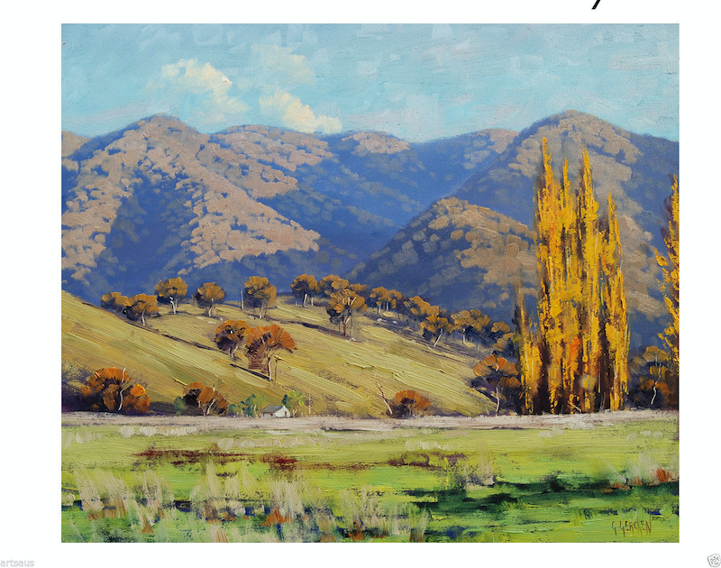 (CreativeWork) Tumut Autumn Landscape by Graham Gercken. oil-painting. Shop online at Bluethumb.