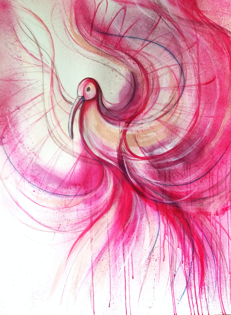(CreativeWork) Pink Ibis by Leni Kae. mixed-media. Shop online at Bluethumb.