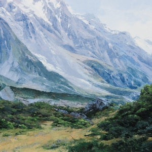(CreativeWork) Mount Cook by Jana Vodesil-Baruffi. oil-painting. Shop online at Bluethumb.