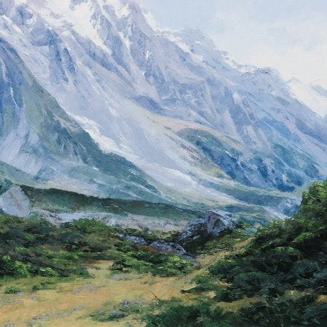 (CreativeWork) Mount Cook by Jana Vodesil-Baruffi. Oil Paint. Shop online at Bluethumb.