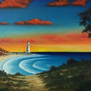 (CreativeWork) Lighthouse Point by David O'Halloran. oil-painting. Shop online at Bluethumb.
