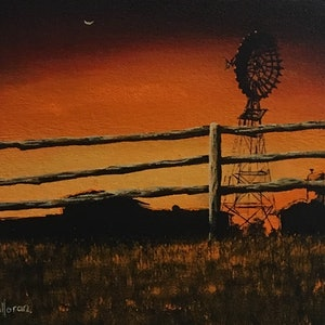 (CreativeWork) Murphy's Sunset by David O'Halloran. oil-painting. Shop online at Bluethumb.