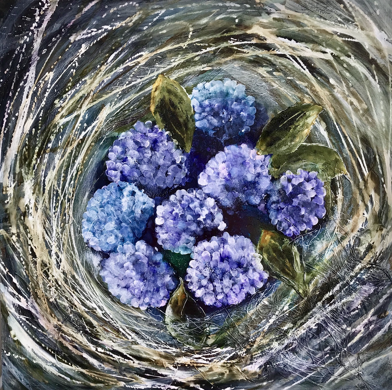 (CreativeWork) Flowers in my Nest by Meg Lewer. other-media. Shop online at Bluethumb.