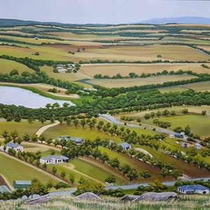 (CreativeWork) Winter Hill View by Mady Lewis. arcylic-painting. Shop online at Bluethumb.