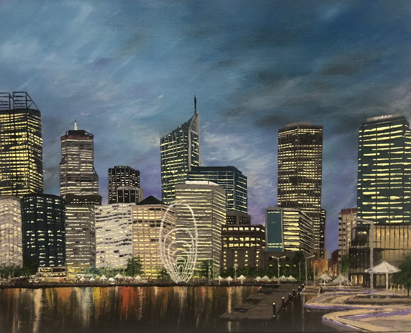 (CreativeWork) My City  by Leanne Selkirk. oil-painting. Shop online at Bluethumb.