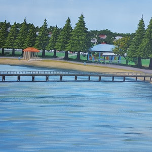 (CreativeWork) Port Lincoln town Jetty by Mady Lewis. arcylic-painting. Shop online at Bluethumb.
