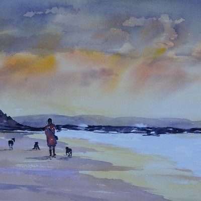 (CreativeWork) Dog Beach at Sunset by Vicki Reid. Watercolour Paint. Shop online at Bluethumb.